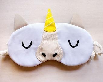 White Unicorn Eye Mask Unicorn Sleeping Eyemask Unicorn Sleep Mask Cute Animal Catnap Mask Magic Unicorn Eye Cover Shield Golden Yellow Horn