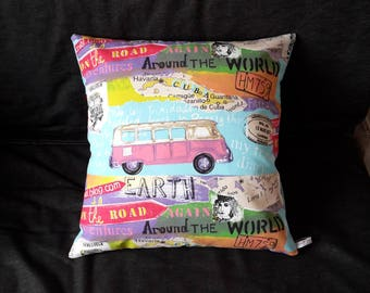 Large colorful vw combi patterned pillow cover, vintage circa 70s