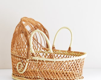 Small Vintage Wicker Dolls Moses Basket -  Wicker Rattan Dolls Bassinet - Child's Bedroom Decor - Bohemian Home - 70's - 80's Era