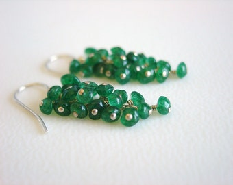 Gem Cluster Earrings of Emerald Green Aventurine Stones and Sterling Silver