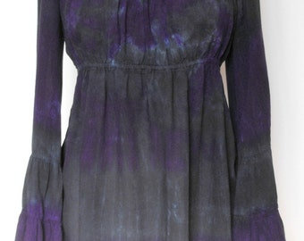 Twilight Peasant Top with Tier Sleeves Tie Dyed in Black and Imperial Purple