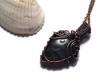 Wire Wrapped Copper Labradorite Necklace Pendant/ Blue Labradorite Jewelry/ Copper Jewelry/ Wire Wrap Jewelry/ Blue Labradorite Necklace