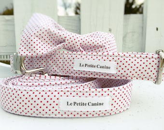 DOG COLLAR SET, Dog Collars, Dog, Dog Leash, Polka-dot Dog Collar, Red & White Dog Collar, Colorful Dog Collar, Candy Canine Collection