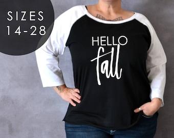 Plus Size Hello Fall Shirt, Plus Size Fall Shirt, Fall Shirt, Game Day Shirt, Plus Size Shirt, Autumn Shirt, Hello Shirt, Thanksgiving