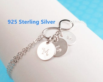 Personalized Infinity bracelet,initial bracelet,Personalized bracelet,initial disc,mother's gift,grandmather gift