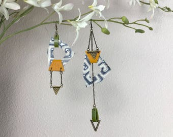 Asymmetric Leather Earrings - Printed/Embossed Leather with Green and Yellow Leather Accents and a Triangle Charms