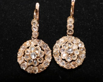 "Vintage 14k gold, rose cut diamond earrings. Approximately 1.00 ctw of diamonds, 5.5g, 1"" x 1/2"""