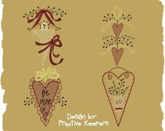 Primitive Machine Embroidery Design-Be Mine Mini Collection 1--5X7 SET-INSTANT DOWNLOAD