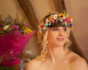 Destination  Wedding flower crown tropical Rainbow Hair Wreath Bridal party garland pink yellow orange purple Halo cruise bride