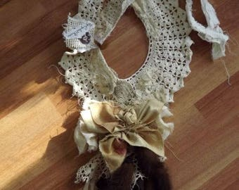 Foxy Lady Up-Cycled Vintage Crochet Collar Unique OOAK Fox Tails and Lace Bohemian Art To Wear