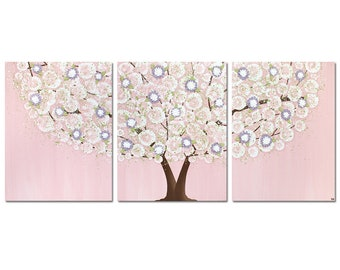 Nursery Decor Girl, Pink and Purple Painting of Tree, Large Wall Art Canvas Triptych -  50x20