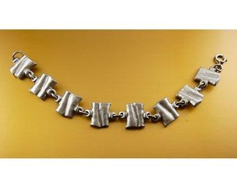 TENN Pewter Mid Century Modernist Link Bracelet - Sweden, HW Tenn