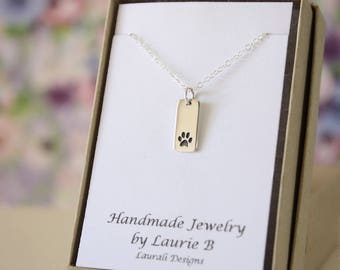Tiny Paw Print Charm Necklace, Friendship Gift, Sterling Silver, Bestie Gift, Cat Charm, Animal Lover, Dog Paw Charm, Thank you card