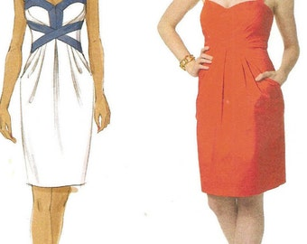 Suzi Chin maggy boutique Lined Halter Dress, Womens Size 14 16 18 20 Uncut Sewing Pattern