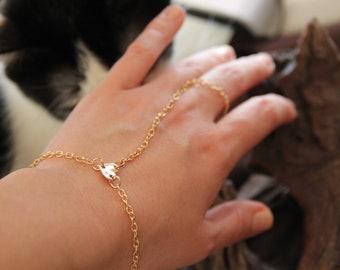 Сhain bracelet on wrist heart gift everyday bracelet chain on the finger combined ring bracelet gold Hand Chain bridesmide slave bracelet