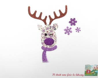 Applied fusible liberty reindeer Christmas fabric liberty Adelajda purple flex glittery pattern fusible applique reindeer iron on patch