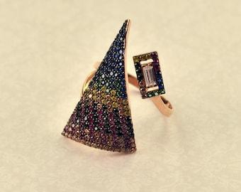 Silver 925 ring pyramide shape white gold multicolor zircon
