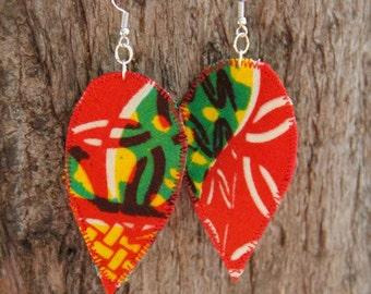 Red yellow and green, Africa fabric earrings, funky jewelry, rasta earrings, lightweight earrings, African earrings, African jewelry