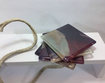 Hostess Drinks Coasters, Gift For Her, Set Four Fused Glass Coasters, Elegant Hostess Dining