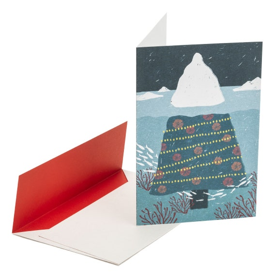 CHRISTMAS ICEBERG. Holiday card. Funny Christmas tree. For art lovers, For mountain lovers. For sea lovers