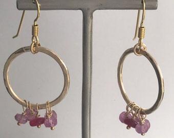 Handmade Pink sapphire hoop earrings, Goldfill hoops, Pink Sapphire earrings