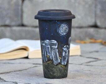 Standing Stones Ceramic Travel Mug - Outlander Inspired Mug - Samhain Porcelain Eco Cup Lid - Stonehenge Art - Halloween gift