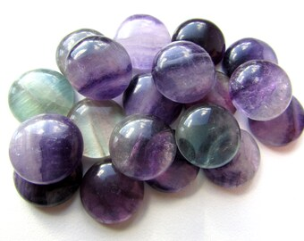 2pcs Natural Purple Fluorite Cabochons 15 - 16 mm Round Rainbow Fluorite Gemstone Cabochon Flat back DIY Jewelry findings Craft Supply (2)