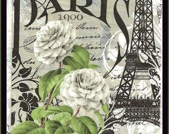 Paris Eiffel Tower Decoupage Paper Scrapbooking Paper Mixed Media Altered Art Paper Lunch Napkin Tissue Paper