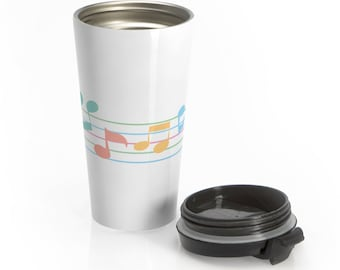 Travel Mug Music Flowing Pastel Musical Notes Stainless Steel Musician Gift Present