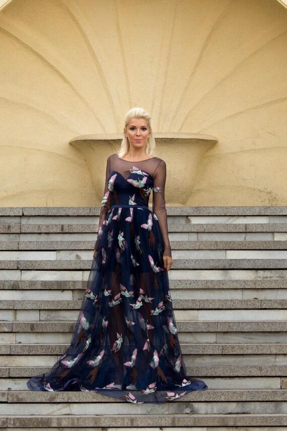 Romantische Heimkehrkleid Abendkleid in blau. Lange Kleid mit
