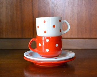 vintage red and white polka dot waechtersbach cups and saucers / coffee cups / west german waechtersbach