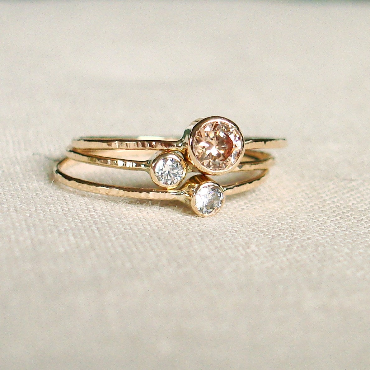 Delicate 14k Gold Birthstone Stack Rings Mother and Children