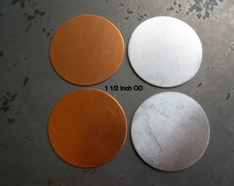 1 1/2 Inch Round Stamping Blanks, Metal Discs, Copper or Aluminum, You get 4, Ready to Ship!