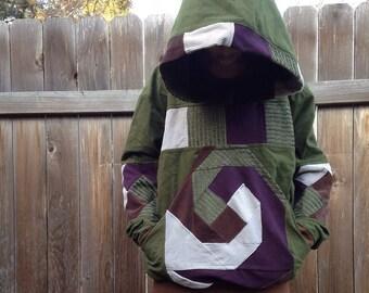 Spiral earth tones large hoodie