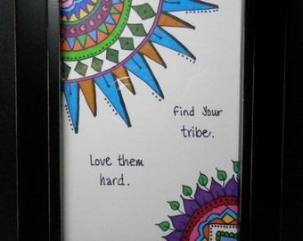 "Original Artwork, Framed 4"" by 6"", Framed Drawing, Doodle, Sharpie Art"