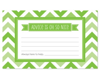 Chevron Green Advice Cards - 18 Helpful Hints Cards for a Baby Shower, Birthday Party or Bridal Shower
