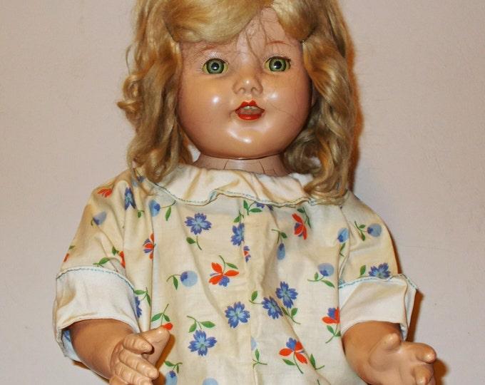 "Vintage 30s 40s Handmade Blue Orange White Floral Leaf Cotton Doll Summer Day Dress Fits a 25"" Doll"