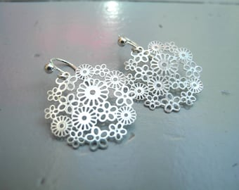 Silver buckles and Silver Flower print