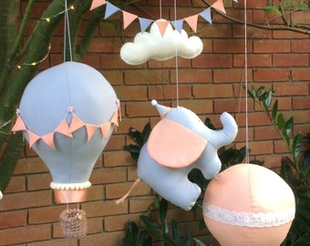 Baby Mobile, Hot Air Balloon, Circus Elephant