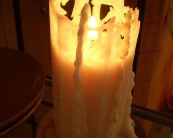 Danish Romantic Scandinavian,Valentines Hexagon,Lace,Cobweb dripping candle,Natural plant wax,100% Stearin.