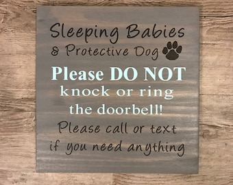 Baby Sleeping Wood Sign | Do Not Ring | Do Not Knock | Protective Dog | Do Not Disturb | New Baby | Painted Sign | Napping Baby Outdoor Sign