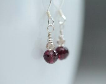 tiny garnet earrings / garnet jewelry / january birthstone / january birthday gift / small dangle earring / tiny drop earring #1255