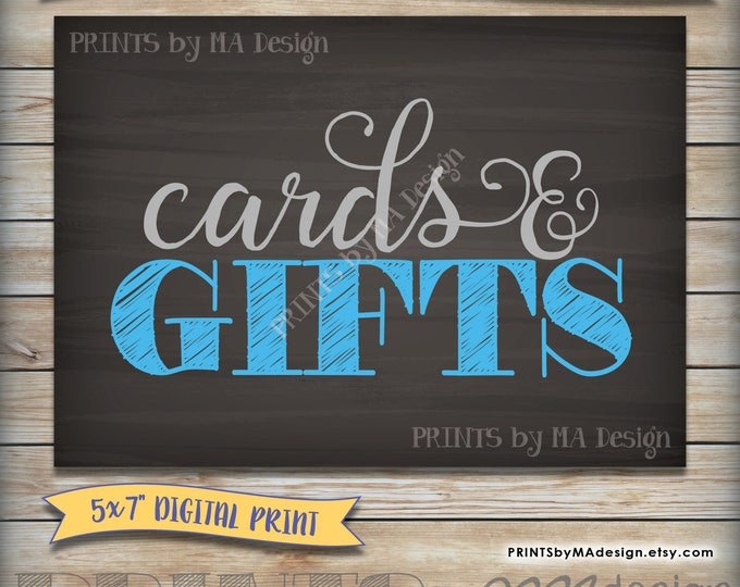 """Cards & Gifts Baby Shower Cards and Gifts Sign, It's a Boy, Baby Boy Blue and Gray 5x7"""" Chalkboard, Instant Download Digital Printable"""