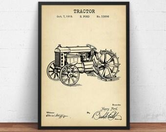 Rustic blueprint etsy tractor 1919 patent print digital download ford tractor blueprint tractor wall art malvernweather Images