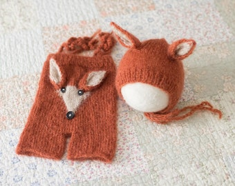Newborn Fox Prop, Knit Newborn Fox Outfit, Mohair Fox Romper, Fox Newborn Romper, Newborn Fox Hat, Baby Fox Photo Prop, Knit Fox Outfit