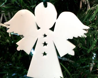 Angel Stars Christmas Xmas Tree Decorations in White, Red, Lime Green or Orange. Pack of 10