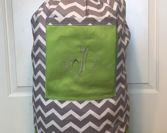 Monogrammed Laundry Duffel Bag, Apple Green, Gray & White Chevron, Laundry Bag, Laundry Bag for College, Hanging Laundry Bag, Laundry Hamper