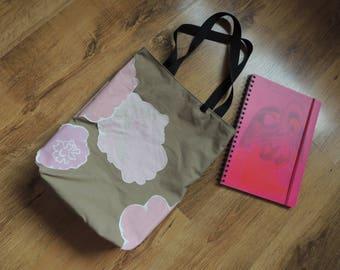 FREE SHIPPING - HANDMADE Beige/gray tote bag with Vtg 1970 y Marimekko pink/ purple flowears, lining, size 39 x 32 cm