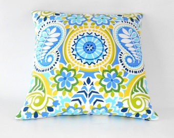 Free shipping/BLUE PILLOW COVER 18x18 inches-Two sides-Blue-Acqua-yellow-Home Decor stripes-Throw pillow-Decorative Pillow-Accent -Handmade