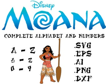 Moana Complete Alphabet in svg, ai, eps, dxf, png. INSTANT DOWNLOAD